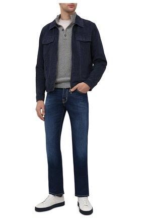 Мужские кожаные кеды SANTONI белого цвета, арт. MBGL21318TBLXDMEI53 | Фото 2 (Подошва: Массивная; Материал внутренний: Натуральная кожа)