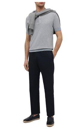 Мужские кожаные эспадрильи DOUCAL'S темно-синего цвета, арт. DU2674VULCUZ053AB04 | Фото 2 (Материал внутренний: Натуральная кожа)