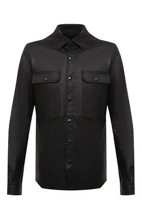 Мужская кожаная куртка-рубашка RICK OWENS черного цвета, арт. RU21S6729/LP | Фото 1