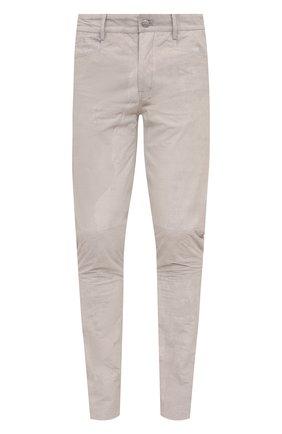 Мужские кожаные брюки RICK OWENS светло-серого цвета, арт. RU21S6393/LBA | Фото 1
