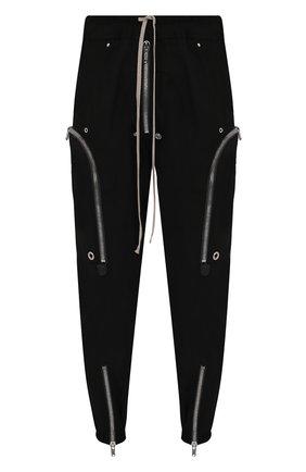 Мужские хлопковые джоггеры RICK OWENS черного цвета, арт. RU21S6377/TE   Фото 1 (Стили: Гранж; Длина (брюки, джинсы): Укороченные; Силуэт М (брюки): Джоггеры; Материал внешний: Хлопок)