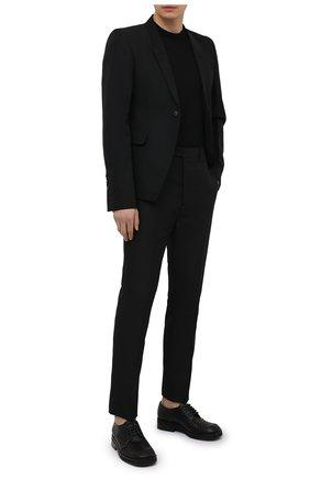 Мужские брюки RICK OWENS черного цвета, арт. RU21S6374/TS   Фото 2 (Материал подклада: Купро; Случай: Повседневный; Материал внешний: Синтетический материал; Длина (брюки, джинсы): Стандартные; Стили: Минимализм)