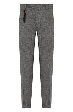 Мужские брюки MARCO PESCAROLO серого цвета, арт. SLIM80/4345 | Фото 1 (Стили: Классический; Случай: Формальный; Длина (брюки, джинсы): Стандартные; Материал внешний: Шелк)
