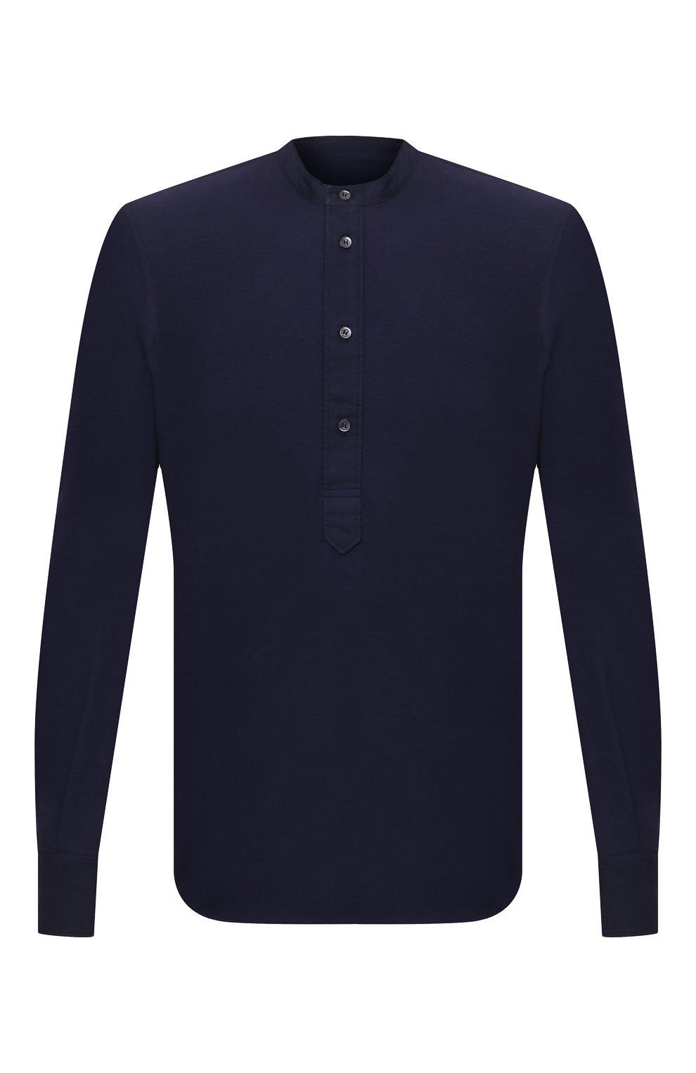 Мужская хлопковая рубашка ASPESI темно-синего цвета, арт. S1 A AY45 9408   Фото 1 (Манжеты: На пуговицах; Рукава: Длинные; Случай: Повседневный; Длина (для топов): Стандартные; Материал внешний: Хлопок; Принт: Однотонные; Воротник: Мандарин; Стили: Кэжуэл)