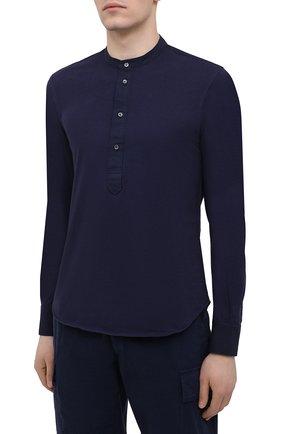 Мужская хлопковая рубашка ASPESI темно-синего цвета, арт. S1 A AY45 9408   Фото 3 (Манжеты: На пуговицах; Рукава: Длинные; Случай: Повседневный; Длина (для топов): Стандартные; Материал внешний: Хлопок; Принт: Однотонные; Воротник: Мандарин; Стили: Кэжуэл)