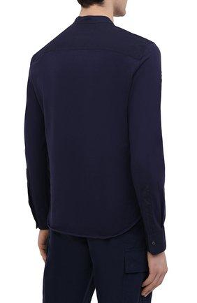 Мужская хлопковая рубашка ASPESI темно-синего цвета, арт. S1 A AY45 9408   Фото 4 (Манжеты: На пуговицах; Рукава: Длинные; Случай: Повседневный; Длина (для топов): Стандартные; Материал внешний: Хлопок; Принт: Однотонные; Воротник: Мандарин; Стили: Кэжуэл)