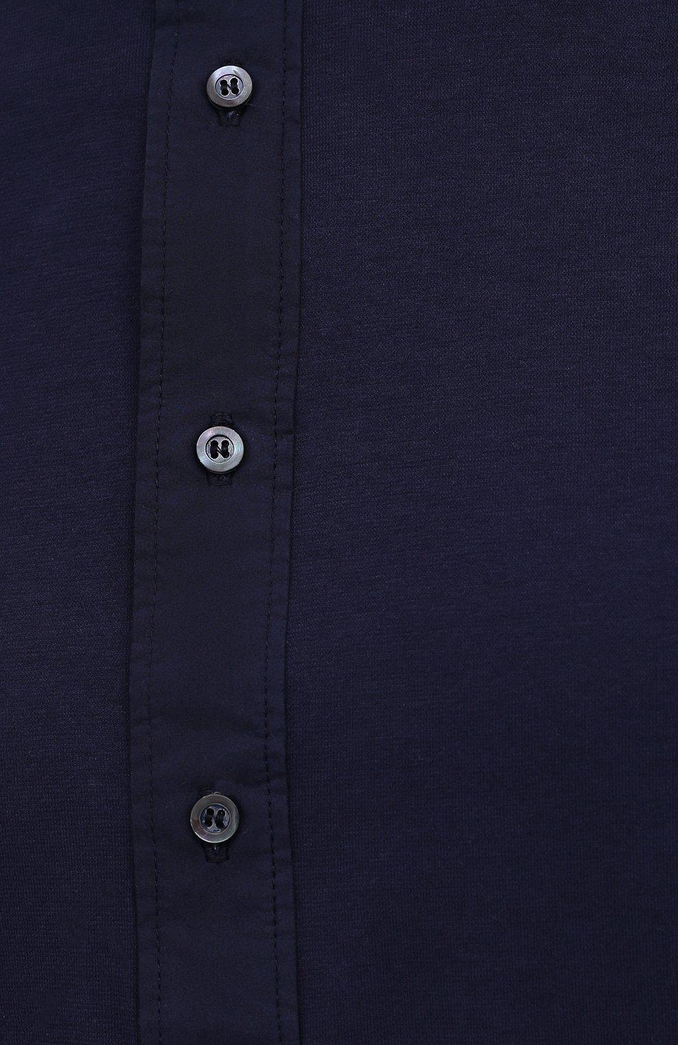 Мужская хлопковая рубашка ASPESI темно-синего цвета, арт. S1 A AY45 9408   Фото 5 (Манжеты: На пуговицах; Рукава: Длинные; Случай: Повседневный; Длина (для топов): Стандартные; Материал внешний: Хлопок; Принт: Однотонные; Воротник: Мандарин; Стили: Кэжуэл)