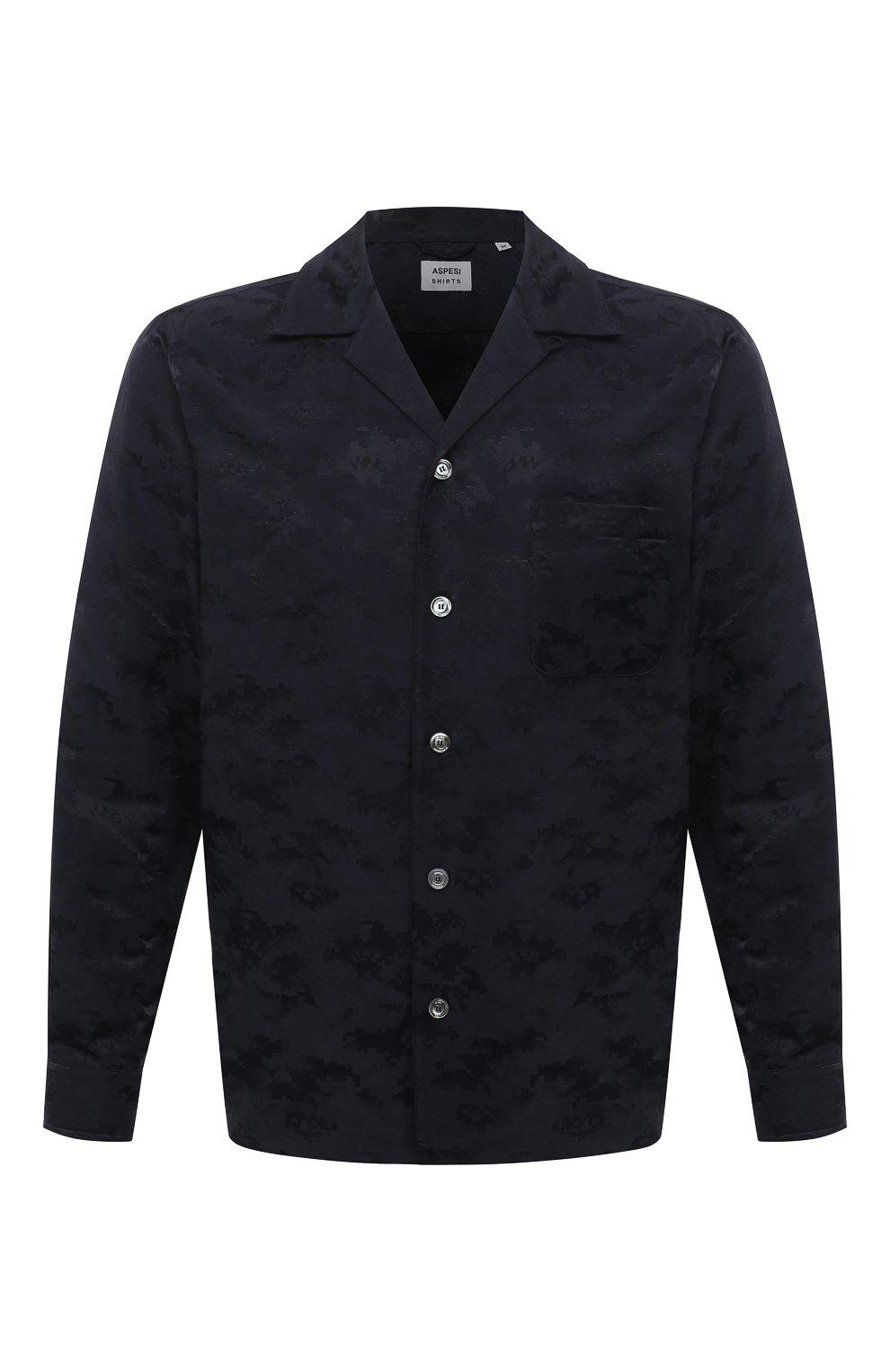 Мужская рубашка ASPESI темно-синего цвета, арт. S1 A CE53 G422 | Фото 1 (Манжеты: На пуговицах; Рукава: Длинные; Случай: Повседневный; Материал внешний: Синтетический материал, Хлопок; Длина (для топов): Стандартные; Принт: С принтом; Воротник: Отложной; Стили: Кэжуэл)