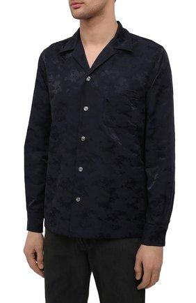 Мужская рубашка ASPESI темно-синего цвета, арт. S1 A CE53 G422 | Фото 3 (Манжеты: На пуговицах; Рукава: Длинные; Случай: Повседневный; Материал внешний: Синтетический материал, Хлопок; Длина (для топов): Стандартные; Принт: С принтом; Воротник: Отложной; Стили: Кэжуэл)