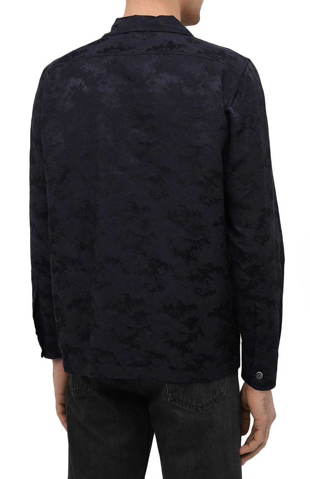 Мужская рубашка ASPESI темно-синего цвета, арт. S1 A CE53 G422 | Фото 4 (Манжеты: На пуговицах; Рукава: Длинные; Случай: Повседневный; Материал внешний: Синтетический материал, Хлопок; Длина (для топов): Стандартные; Принт: С принтом; Воротник: Отложной; Стили: Кэжуэл)