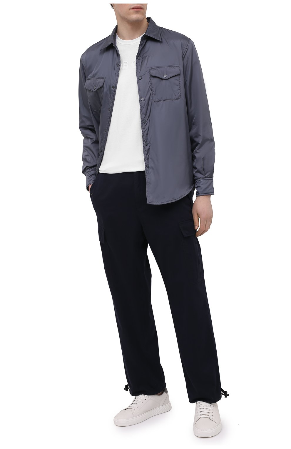 Мужские хлопковые брюки-карго ASPESI темно-синего цвета, арт. S1 A CP10 E794 | Фото 2 (Силуэт М (брюки): Карго; Длина (брюки, джинсы): Стандартные; Случай: Повседневный; Материал внешний: Хлопок; Стили: Кэжуэл)