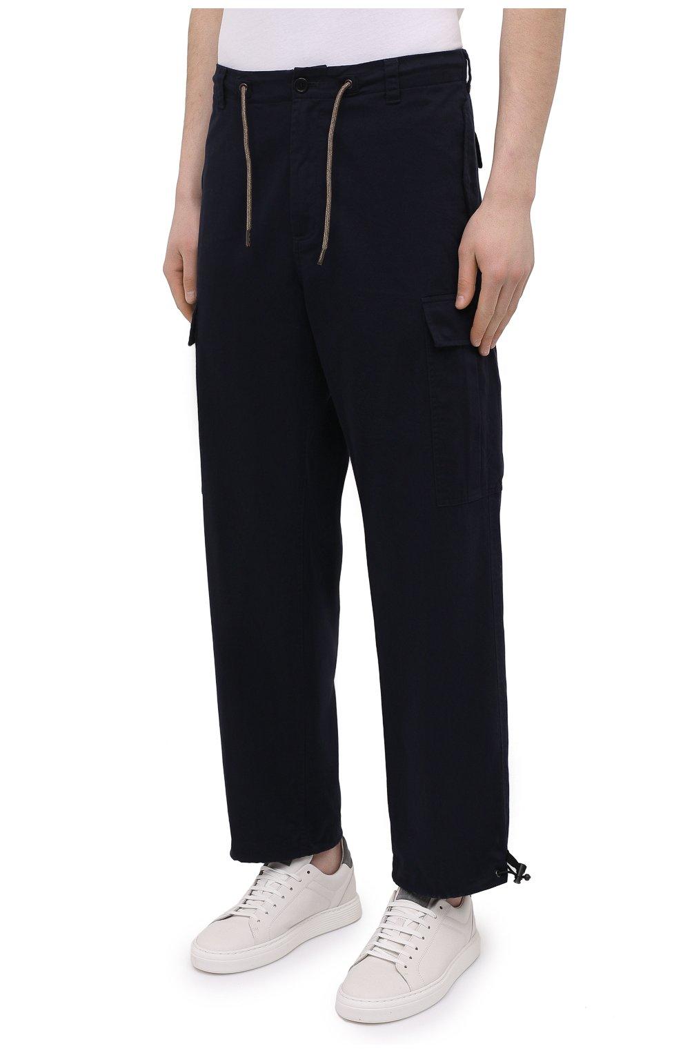 Мужские хлопковые брюки-карго ASPESI темно-синего цвета, арт. S1 A CP10 E794 | Фото 3 (Силуэт М (брюки): Карго; Длина (брюки, джинсы): Стандартные; Случай: Повседневный; Материал внешний: Хлопок; Стили: Кэжуэл)