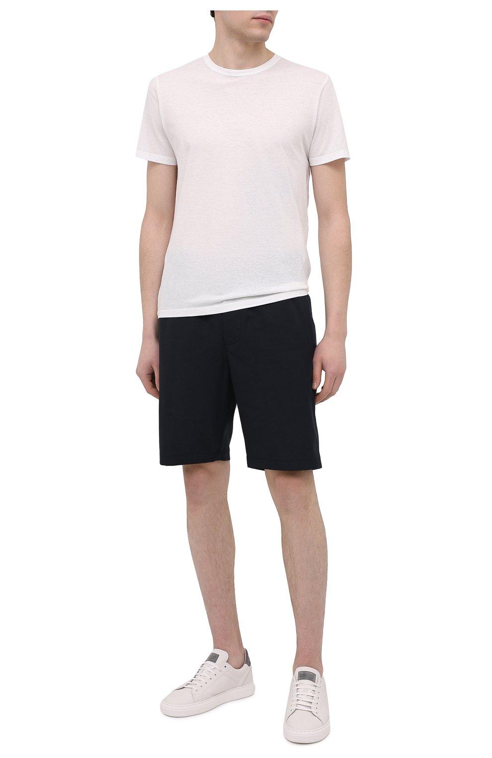 Мужские шорты ASPESI темно-синего цвета, арт. S1 A CQ32 G457 | Фото 2 (Мужское Кросс-КТ: Шорты-одежда; Длина Шорты М: До колена; Принт: Без принта; Материал внешний: Синтетический материал; Стили: Кэжуэл)
