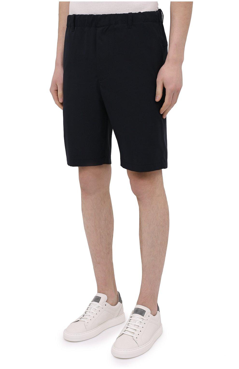 Мужские шорты ASPESI темно-синего цвета, арт. S1 A CQ32 G457 | Фото 3 (Мужское Кросс-КТ: Шорты-одежда; Длина Шорты М: До колена; Принт: Без принта; Материал внешний: Синтетический материал; Стили: Кэжуэл)