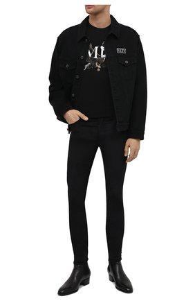 Мужские брюки AMIRI черного цвета, арт. MPS001-001 | Фото 2 (Материал внешний: Синтетический материал, Хлопок; Стили: Гранж; Длина (брюки, джинсы): Стандартные; Случай: Повседневный)