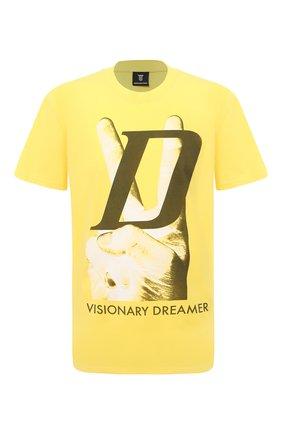 Мужская хлопковая футболка DIEGO VENTURINO желтого цвета, арт. SS21-DV TS0 VDL | Фото 1