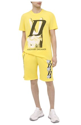 Мужская хлопковая футболка DIEGO VENTURINO желтого цвета, арт. SS21-DV TS0 VDL | Фото 2