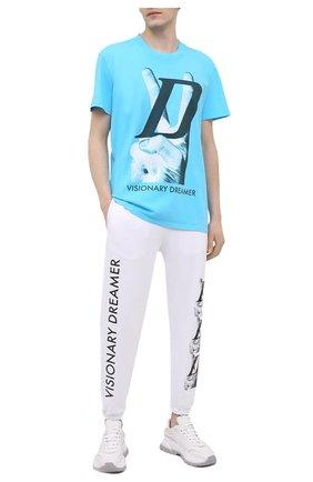 Мужская хлопковая футболка DIEGO VENTURINO бирюзового цвета, арт. SS21-DV TS0 VDL   Фото 2