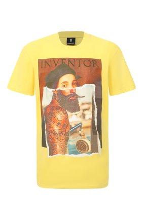 Мужская хлопковая футболка DIEGO VENTURINO желтого цвета, арт. SS21-DV TS0 RHI | Фото 1