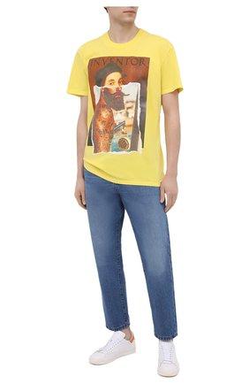 Мужская хлопковая футболка DIEGO VENTURINO желтого цвета, арт. SS21-DV TS0 RHI | Фото 2