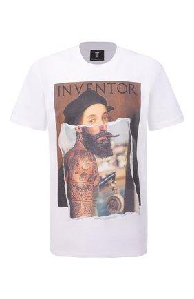 Мужская хлопковая футболка DIEGO VENTURINO белого цвета, арт. SS21-DV TS0 RHI | Фото 1