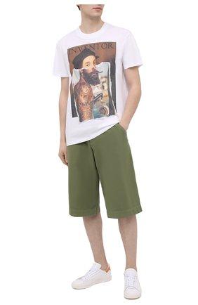 Мужская хлопковая футболка DIEGO VENTURINO белого цвета, арт. SS21-DV TS0 RHI | Фото 2