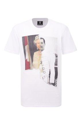 Мужская хлопковая футболка DIEGO VENTURINO белого цвета, арт. SS21-DV TS0 QEF | Фото 1