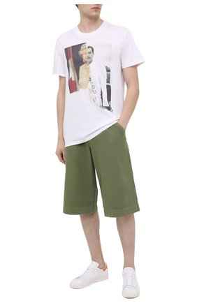 Мужская хлопковая футболка DIEGO VENTURINO белого цвета, арт. SS21-DV TS0 QEF | Фото 2