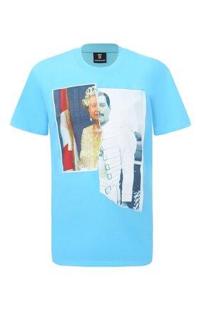 Мужская хлопковая футболка DIEGO VENTURINO бирюзового цвета, арт. SS21-DV TS0 QEF | Фото 1