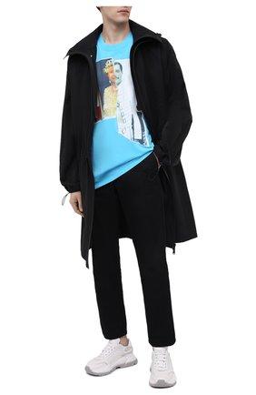 Мужская хлопковая футболка DIEGO VENTURINO бирюзового цвета, арт. SS21-DV TS0 QEF | Фото 2