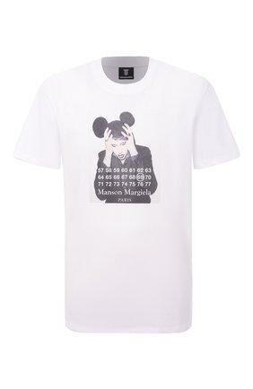 Мужская хлопковая футболка DIEGO VENTURINO белого цвета, арт. SS21-DV TS0 MMP | Фото 1 (Материал внешний: Хлопок; Длина (для топов): Стандартные; Стили: Панк, Гранж; Рукава: Короткие; Принт: С принтом)