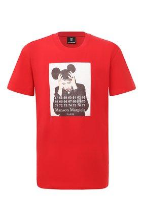 Мужская хлопковая футболка DIEGO VENTURINO красного цвета, арт. SS21-DV TS0 MMP | Фото 1 (Рукава: Короткие; Стили: Гранж, Панк; Принт: С принтом; Материал внешний: Хлопок; Длина (для топов): Стандартные)