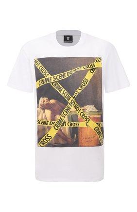 Мужская хлопковая футболка DIEGO VENTURINO белого цвета, арт. SS21-DV TS0 MCS | Фото 1 (Рукава: Короткие; Стили: Гранж; Длина (для топов): Стандартные; Принт: С принтом; Материал внешний: Хлопок)