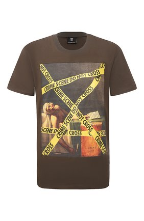 Мужская хлопковая футболка DIEGO VENTURINO хаки цвета, арт. SS21-DV TS0 MCS | Фото 1
