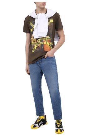 Мужская хлопковая футболка DIEGO VENTURINO хаки цвета, арт. SS21-DV TS0 MCS | Фото 2