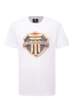 Мужская хлопковая футболка DIEGO VENTURINO белого цвета, арт. SS21-DV TS0 BBPU | Фото 1