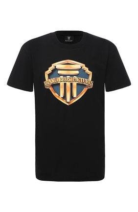Мужская хлопковая футболка DIEGO VENTURINO черного цвета, арт. SS21-DV TS0 BBPU | Фото 1