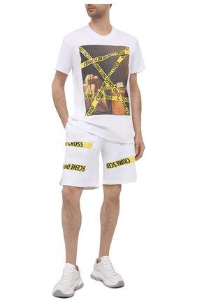 Мужские хлопковые шорты DIEGO VENTURINO белого цвета, арт. SS21-DV SRT MCS | Фото 2 (Длина Шорты М: До колена; Кросс-КТ: Трикотаж; Материал внешний: Хлопок; Принт: С принтом; Стили: Спорт-шик)