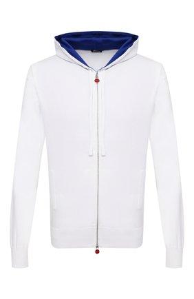 Мужской хлопковый кардиган KITON белого цвета, арт. UK1050 | Фото 1