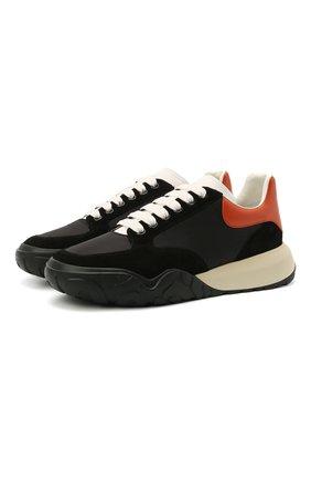 Мужские комбинированные кроссовки ALEXANDER MCQUEEN черного цвета, арт. 653222/W4JY1   Фото 1