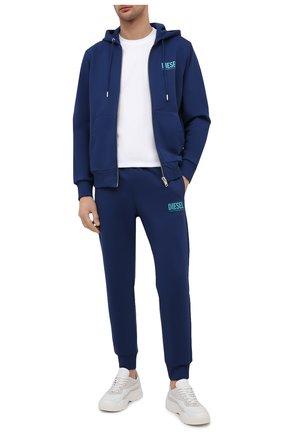 Мужской хлопковая толстовка DIESEL синего цвета, арт. 00SAV1/0BAWT | Фото 2 (Мужское Кросс-КТ: Толстовка-одежда; Материал внешний: Хлопок; Рукава: Длинные; Стили: Спорт-шик; Длина (для топов): Стандартные)