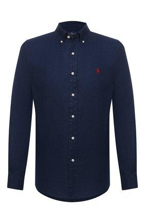 Мужская льняная рубашка POLO RALPH LAUREN темно-синего цвета, арт. 710829449   Фото 1