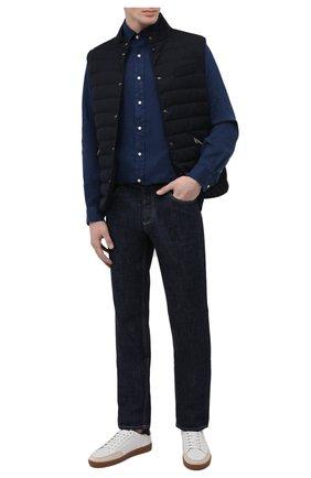 Мужская льняная рубашка POLO RALPH LAUREN темно-синего цвета, арт. 710829449   Фото 2