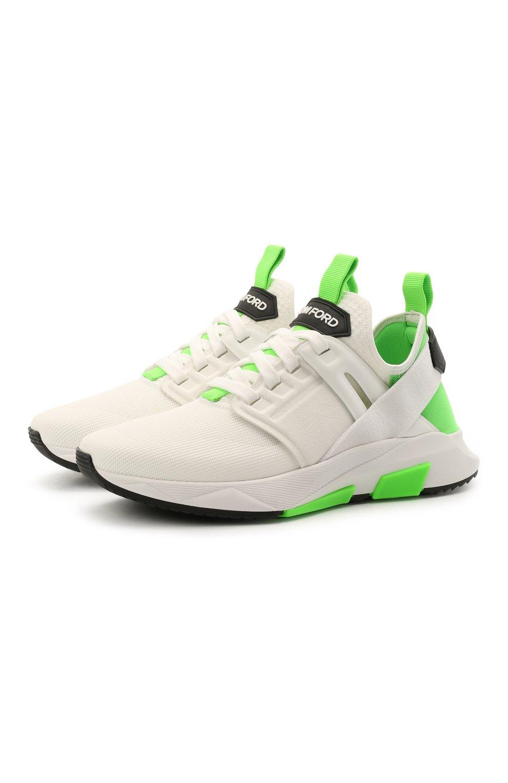 Мужские комбинированные кроссовки TOM FORD белого цвета, арт. J1100T-T0F006   Фото 1 (Материал внешний: Текстиль; Материал внутренний: Натуральная кожа, Текстиль; Подошва: Массивная; Стили: Спорт)