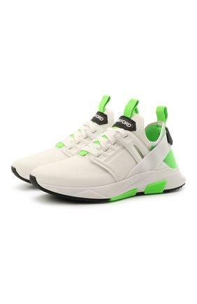 Мужские комбинированные кроссовки TOM FORD белого цвета, арт. J1100T-T0F006 | Фото 1 (Материал внутренний: Текстиль, Натуральная кожа; Подошва: Массивная; Материал внешний: Текстиль; Стили: Спорт)