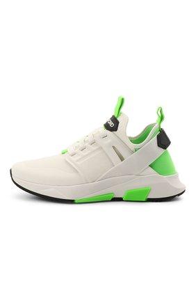Мужские комбинированные кроссовки TOM FORD белого цвета, арт. J1100T-T0F006   Фото 3 (Материал внешний: Текстиль; Материал внутренний: Натуральная кожа, Текстиль; Подошва: Массивная; Стили: Спорт)