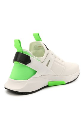 Мужские комбинированные кроссовки TOM FORD белого цвета, арт. J1100T-T0F006   Фото 4 (Материал внешний: Текстиль; Материал внутренний: Натуральная кожа, Текстиль; Подошва: Массивная; Стили: Спорт)
