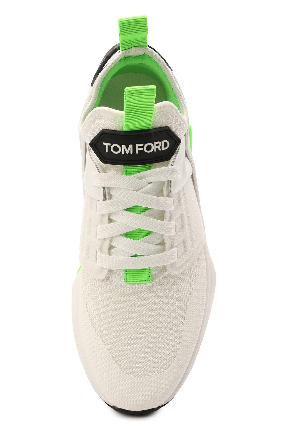 Мужские комбинированные кроссовки TOM FORD белого цвета, арт. J1100T-T0F006   Фото 5 (Материал внешний: Текстиль; Материал внутренний: Натуральная кожа, Текстиль; Подошва: Массивная; Стили: Спорт)