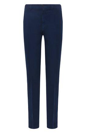 Мужские льняные брюки 120% LINO синего цвета, арт. T0M2411/0253/000 | Фото 1 (Материал внешний: Лен; Стили: Кэжуэл; Длина (брюки, джинсы): Стандартные; Случай: Повседневный)