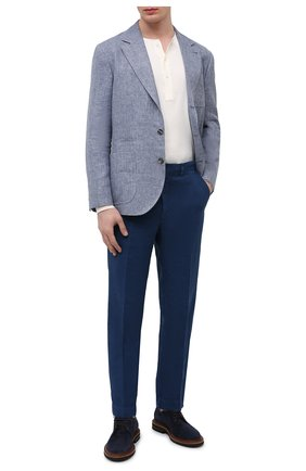Мужские льняные брюки 120% LINO синего цвета, арт. T0M2411/0253/000 | Фото 2 (Материал внешний: Лен; Стили: Кэжуэл; Длина (брюки, джинсы): Стандартные; Случай: Повседневный)